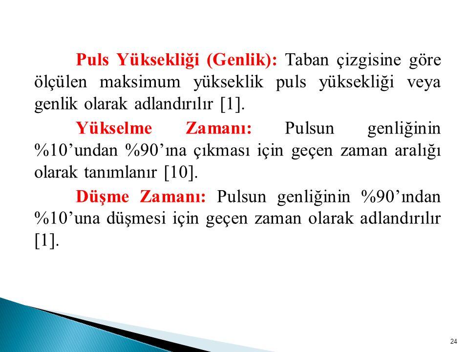 Puls Yüksekliği (Genlik): Taban çizgisine göre ölçülen maksimum yükseklik puls yüksekliği veya genlik olarak adlandırılır [1].